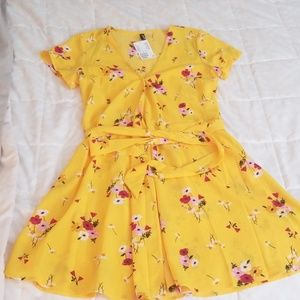 Yellow flower print dress